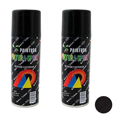 Paintusa - Pack 2 Botes de Pinturas en Spray Color Negro Brillo A01 400 ml