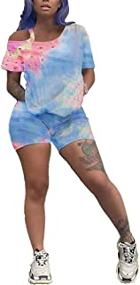 Hou Tie Dye Workout Short Sets for Women 2 Piece Tracksuits Lounge Wear Outfits T-Shirts Bodycon Shorts Set Jumpsuit
