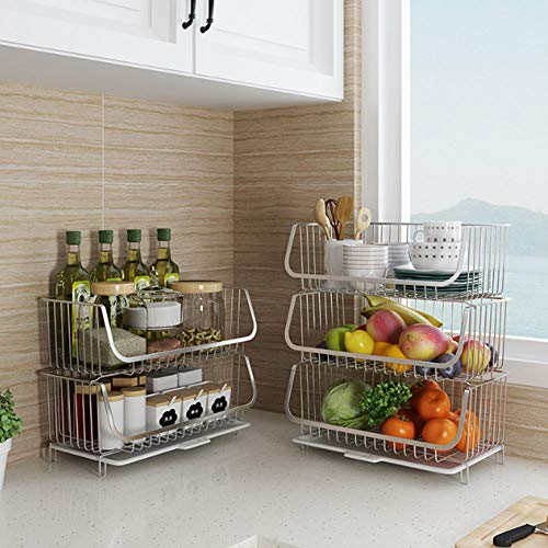 LIBHW 3-Tier Kitchen Rack,Chrome Plating Dishdish Drainer Rack Height Adjustable, For Cabinet Worktop Storage,XS