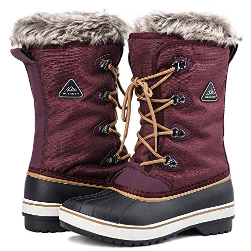 ALEADER Warm Ankle Boots Womens, Winter Snow Boots for Skiing, Outdoor, Cold Weather Purple 10 B(M) US