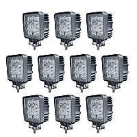 ベストアンサー 【 広角 】 27w 9連 LED作業灯 LEDワークライト 12v 24v 1年保証 角型 10個セット
