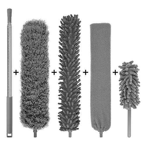 Microfiber Duster with Extension Pole (30-100 inches) Set, 3 Cleaning Head and 1 Mini-Duster (10-31 inches). Cleaning for Furniture, Ceiling Fan, Cobweb, Cars, Gap, Back of The Sofa, Ceilings…
