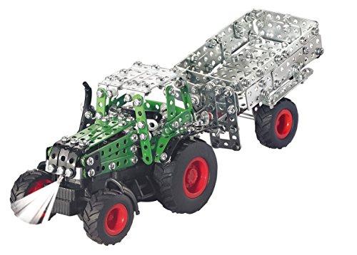 RC Traktor kaufen Traktor Bild 1: Tronico 09521 - Metallbaukasten Traktor Fendt 800 Vario mit Kippanhänger und Fernsteuerung, Maßstab 1:64, Micro Serie, grün, 451 Teile*