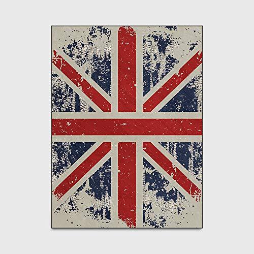 Britse vlag tapijt Moderne retro klassieke rode en blauwe vloermat Soft Touch Antislip Binnenruimte tapijt voor woonkamer slaapkamer keuken,120 * 160cm