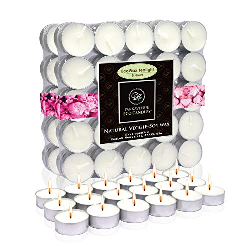 EcoAroma Coco-Soy Candles, 100-Pack Alum Cup Tealight Candles Unscented 5 Hour Extended Burn Time, Organic Candles Non Paraffin Candle Wax, 100% Natural Coconut Soy Wax, Long Burning Candles