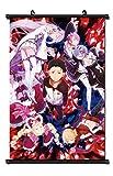 Mxdza Japanese Anime Re - Zero Kara Hajimeru Isekai Seikatsu Fabric Painting Anime Home Decor Wall Scroll Posters for Decorative 40x60CM