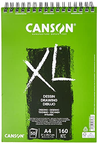 Álbum Espiral Microperforado, A4, 50 Hojas, Canson XL Dessin Ligero 160G