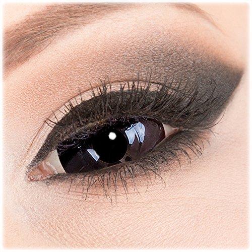 Farbige schwarze Crazy Fun Sclera 22 mm Kontaktlinsen 1 Paar 'Black Sclera' mit Behälter - Topqualität von 'Evil Lens' zu Fasching Karneval Halloween ohne Stärke