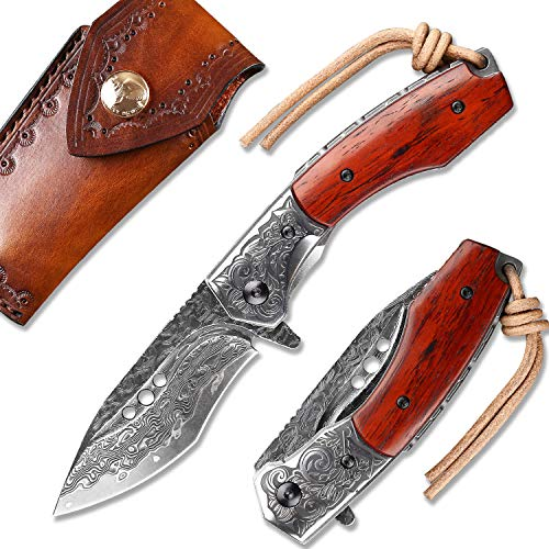 NEWOOTZ Japanese Handmade Damascus Steel Folding Pocket Knife with Leather Sheath,Liner Lock Rosewood Handle,3.1in Tanto Blade EDC Knives for Camping