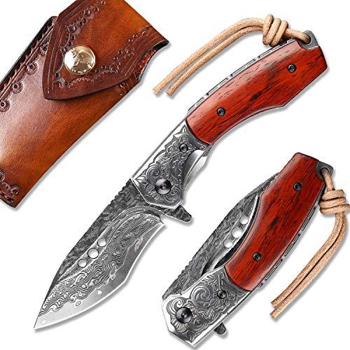 NEWOOTZ Japanese Damascus Steel Pocket Knife