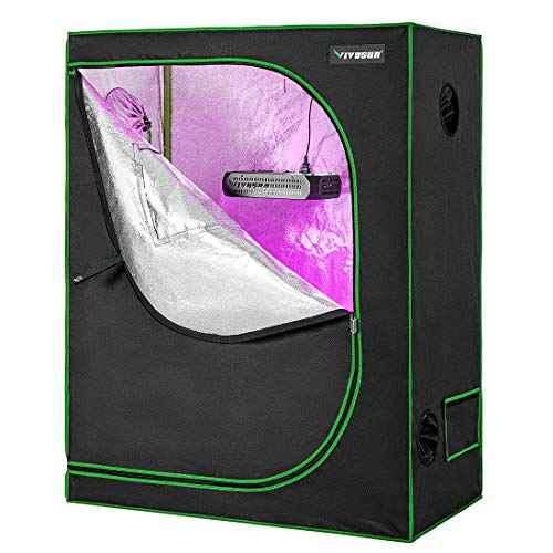 "VIVOSUN 48"" X24"" X 60"" Hydroponic Grow Tent + 300W LED Grow Light for Indoor Plants Veg and Flower"