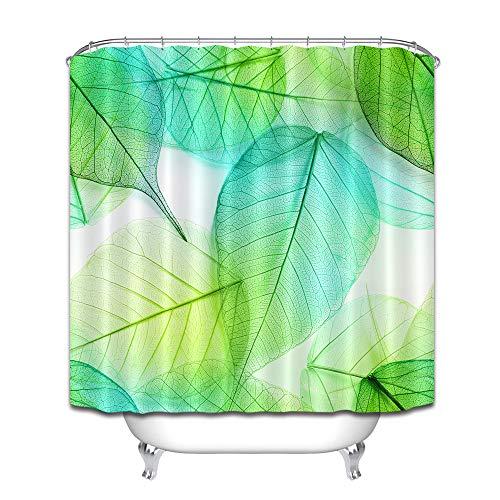 Blätter grün-blau minimalistischer Duschvorhang Badezimmer Vorhang Dekoration wasserdichter Stoff