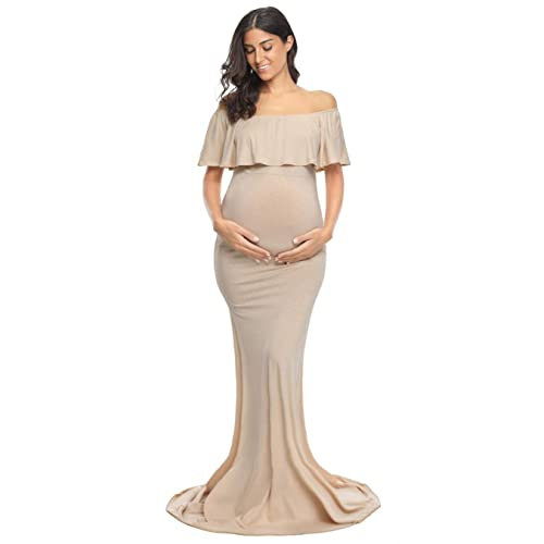 fabb4a72a6 Glampunch Womens Maternity Off Shoulder Ruffles Elegant Gown Slim Fit Maxi  Photography Dress