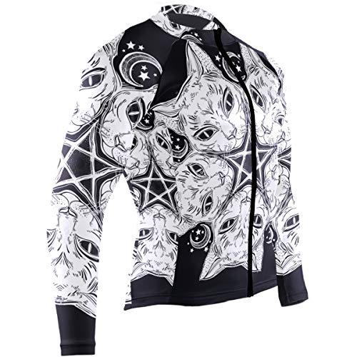 SLHFPX Black Cat Head Round Portrait Madnala Mens Cycling Jersey Top Long Sleeve Road Bike Apparel Outfit