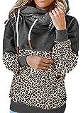 Sudaderas con capucha de manga larga con estampado de leopardo sudadera de cuello alto gruesa suéter con...