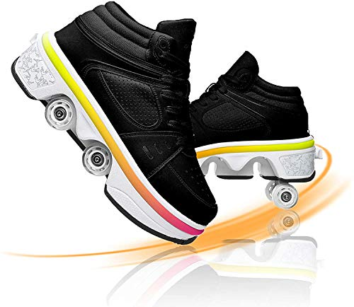 EXPERIENCE Roller Skates Luminous Shoes Inline Skate 2 in 1 Multi Sports Shoes with Four Detachable Tires Anti Slip Suitable for Outdoor Travel Can Run Safe and Comfort,36