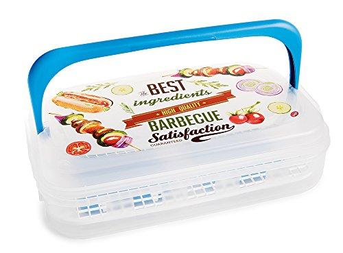 Snips Maxi Ice-Contenitore per Alimenti per Barbeque da 7 LT, Decoro Vintage BBQ mattonelle refrigeranti, Azzurro