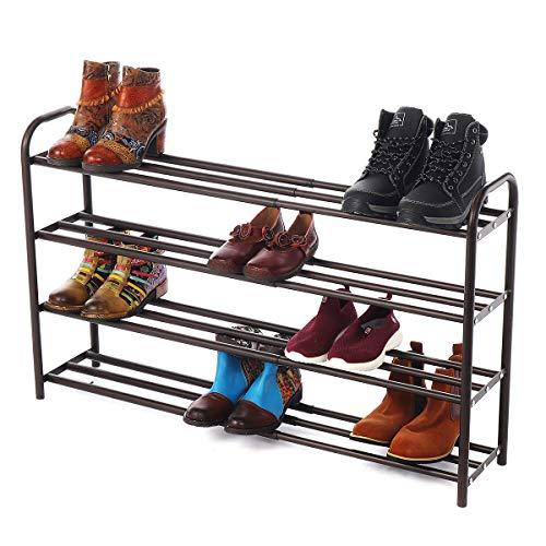 GEMITTO Zapatero de Extensible 4 Niveles Zapatero de Acero Apilable y Extensible Shoe Rack de Metal (60-106cm x 22.5cm x 61.5cm) (Marrón)