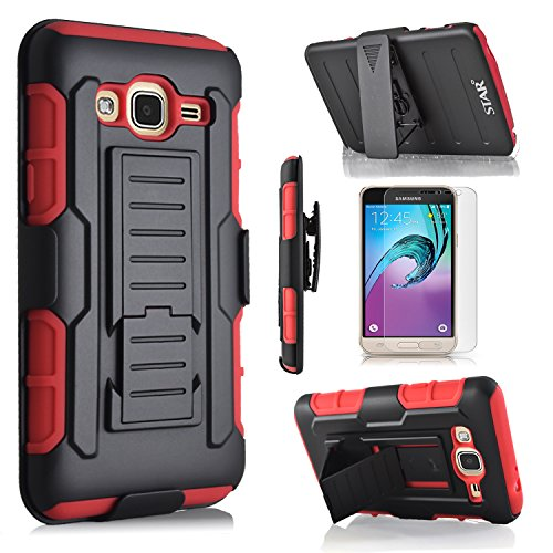 Galaxy On5 Case, Samsung Galaxy On5 Case, Starshop [Heavy Duty] Dual Layers Kickstand Case with [0.33m 9H Tempered Glass Screen Protector Included] and Locking Belt Clip (Red)