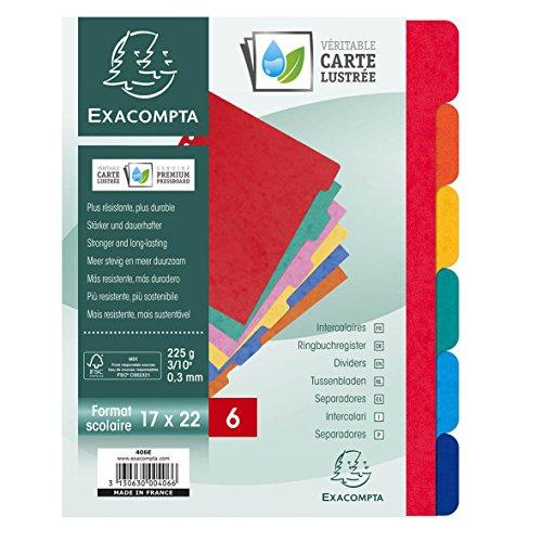 Exacompta 406E Packung mit Register, robust aus Colorspan-Karton fest 225g/m², für DIN A5, mit 6 Taben und Indexseite, 1 Pack, farbig sortiert