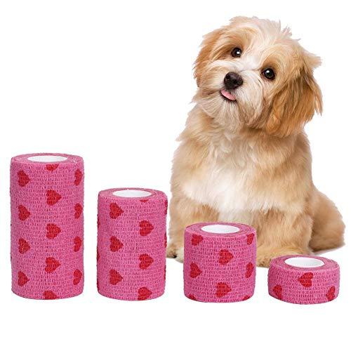 Vendaje autoadhesivo para mascotas, 4 unidades, transpirable, elástico, autoadhesivo, para mascotas, para perros y gatos, para esguinces de rodilla y muñeca