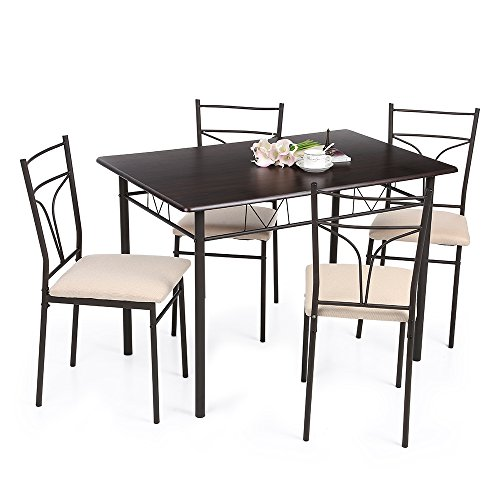 IKAYAA 5 Teilig Essgruppe Tischgruppe aus 1 Esstisch + 4 Stühle