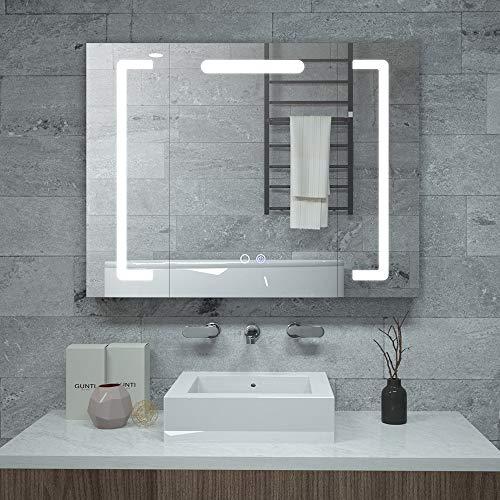 Janboe Badezimmer Spiegelschrank mit Beleuchtung Schrank 80cm Breit mit Double Touch-Schaltern für Farbwechsel-, Dimmer- und Antibeschlagfunktion 800x600x130mm