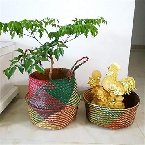Surenhap Seagrass Cesta de cesteria de Mimbre Canasta de lavandería Canasta de Mimbre Plegable Canasta para Almacenamiento de Estilo nórdico Belly Basket - Colores,S