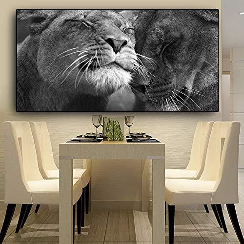 wZUN Elefante Africano Blanco y Negro Pintura de Lienzo de Animal Salvaje Carteles e Impresiones decoración de Sala de Estar Pintura Cuadro de Arte de Pared 50x100cm