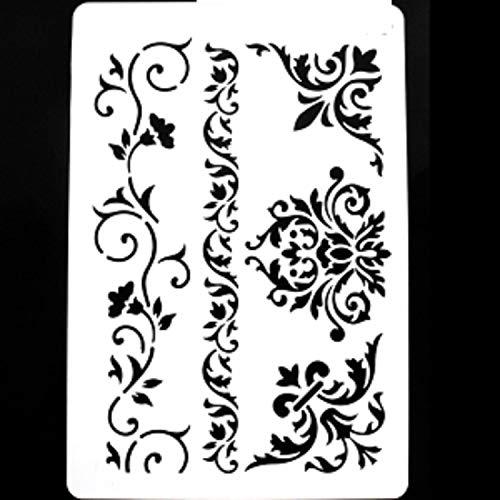 Boutique d'isacrea Schablone aus Kunststoff, 30 x 21 cm, Frisuren, Ecken und Barock-Blumen