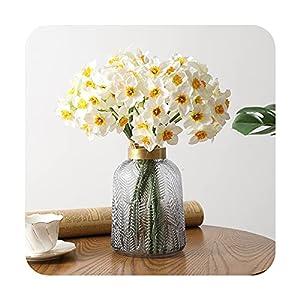 Silk Flower Arrangements PrettyR 6Pcs Artificial Narcissus Flower Photo Props Flower Arrangement Wedding Office Room Window Decoration Fake Flowers Wedding-2