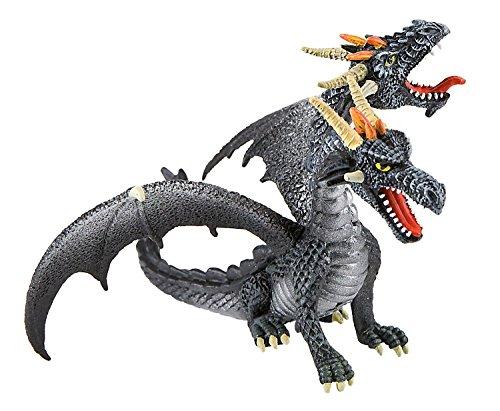 Bullyland 75597-Figura, dragón con 2 Cabezas, Aprox. 13 cm de Altura, Figura Pintada a Mano, Libre de PVC, para niños para el Juego imaginativo, Color Negro/Gris (75597)