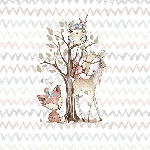 Herz Stoffe Österreich 1 Tiere Panel Waldfreunde | medium - 40x50cm | Ganzjahressweat - Sommersweat - French Terry | Fuchs Rehe Eule Eichhörnchen | beige rosa blau braun | Digital | Ökotex