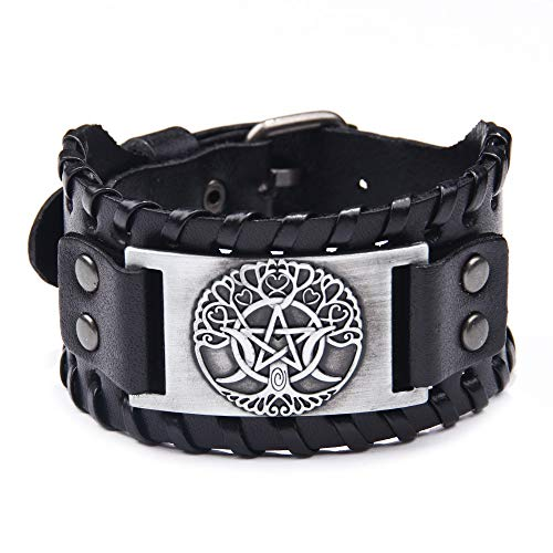 Thajaling, braccialetto vichingo con amuleto Yggdrasil – gioielli pagani di luna e stella braccialetto per uomo donna