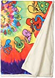 Liquid Blue Men's Spiral Shrooms Hippy Tie Dye Warm Coral Fleece Throw Blanket, multi, 50' X 60'