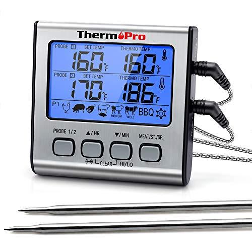 ThermoPro TP17 Termometro Cucina Digitale a Doppia Sonda con Modalità Timer e Display LCD per Cottura BBQ Alimenti Carne Forno Arrosto Griglia