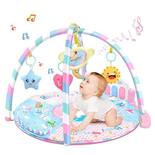 Gimnasio de Actividades Manta de Juego para Bebés, Manta Piano Musical con Extraíble el Soporte para Piano que Brilla, Juguetes Suaves, Espejo y Almohada, Regalo de Juguetes para Recién Nacidos