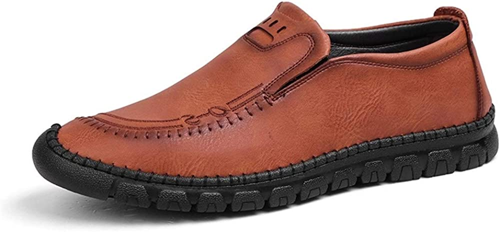 Mens Classic Casual Penny Loafers Genuine Leather Business Shoes Slip-on Style