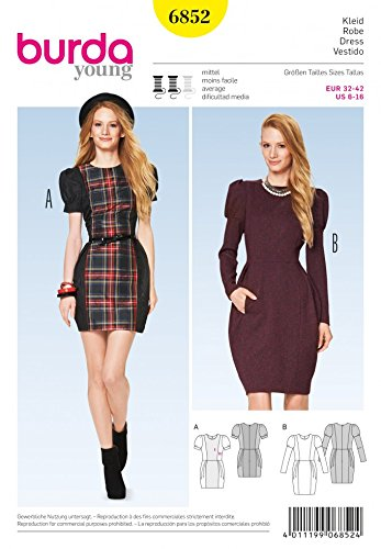 Burda Damen Schnittmuster 6852–Spannbettlaken Kleider mit Puffärmeln