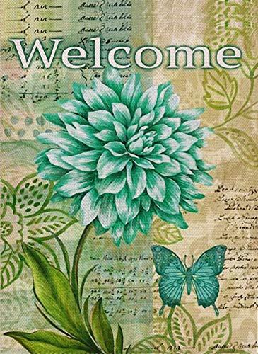 Accueil décoratif Citation de Bienvenue Drapeau de Jardin Double Face, Drapeau de Cour de Maison de Dahlia, décorations de Jardin Vintage Fleur d'été, Papillon extérieur Rustique Toile de Jute Floral