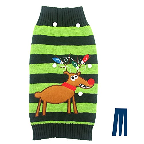 Mikayoo pet Sweater for Small Dog/cat,Ugly Sweater,Color Horizontal Stripes,Christmas Holiday Xmas, Elk Series, Reindeer Series,with Lights and Snowball(M)