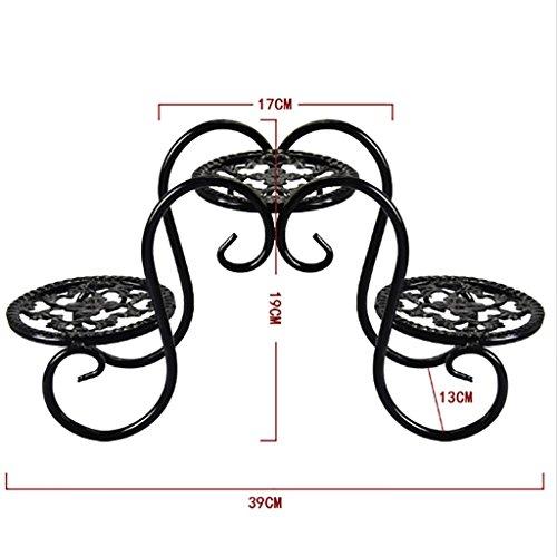 RENJUN Blumentopf-Gestellbüro-Bonsaitisch des Dekorativen Gestellspeichergestells des Blumenrahmenschmiedeeisens Kleiner Blumenstand (Color : Black)