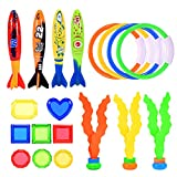 superwinky Outside Pool Toys for Kids 3-10, Water Toy Sets for 3 Year Old and Up Boys Girls Birthday Gifts for 3-12 Year Old Boys Girls Include Water Ring, Diving Seaweeds, Toypedo Bandits,Gems