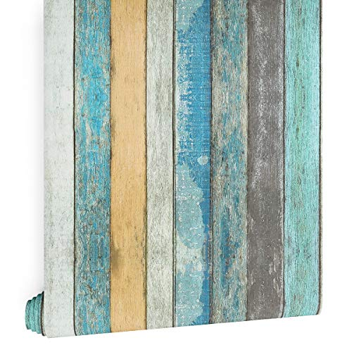 LaCheery Streifen-Holztapete zum Abziehen und Aufkleben, Holzbretter für Wände, 200 x 45 cm, Used-Look, Holz, Kontaktpapier, dekorativ, selbstklebend, zum Aufkleben auf Schränken, Regalen, Schubladen