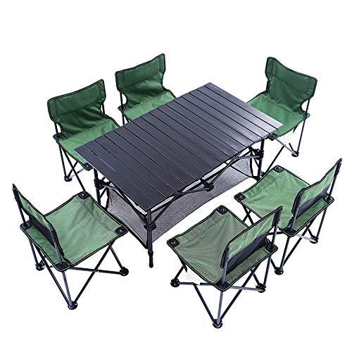 Tables et chaises Pliantes d'extérieur Table de Pique-Nique Pliante en Aluminium Sept pièces, Solide, portante, Pliable avec Sac de Rangement, Facile à Transporter, Table de fête pour 4-6 Personnes