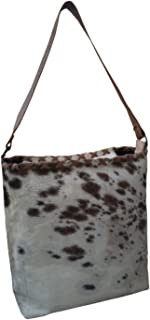 Nayra Womens Leather Handbag Brown & Cream Pack of Two