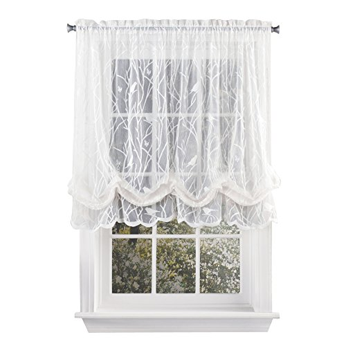 """Collections Etc Songbird Shabby Chic Lace Balloon Shade Curtain with Rod Pocket Top, 56"""" W x 63"""" L, White"""