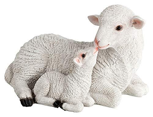 incubado 1PLUS Design Gartenfigur Schaf mit Lamm Gartendekoration aus Kunststein - Niedliche Deko für den Garten