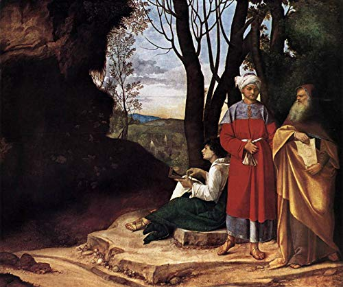 "Giorgione The Three Philosophers 1509 Kunsthistorisches Museum 30"" x 25"" Fine Art Giclee Canvas Print (Unframed) Reproduction"