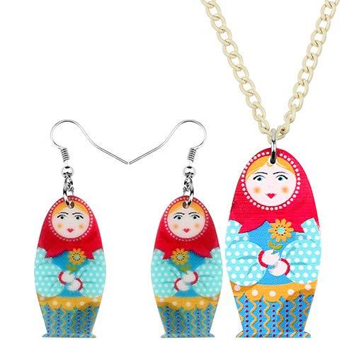 AdronQ® Acryl Matroschka Puppe Ohrringe Halskette Ohrringe Schmuck Sets Teenager Mädchen Charms Party Geschenk Ethnische Dekorationen